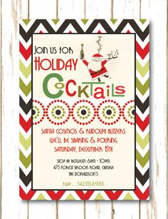 Open House Cocktail Party Santa Cosmos Holiday Cocktail Party Invitation by TheHoneyBeePress