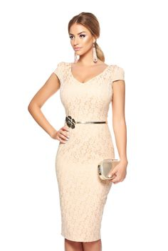 Fofy Feeling Festive Cream Dress, form-fitting, slightly elastic fabric, accessorized with belt, flower shaped accessory, jacquard, fabric with print obtained by braided yarns with natural fibers, floral prints, women`s dress, sleeveless, back zipper fastening