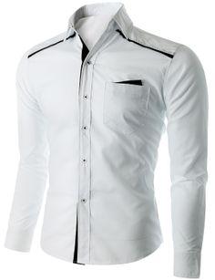 Doublju Men's Button Down Casual Shirt with Patched Pocket (CMTSTL016) #doublju