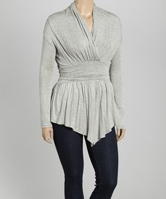 Look what I found on #zulily! Heather Gray Surplice Tunic - Plus by Bellino #zulilyfinds