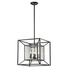 Pendant with an open cube frame and water glass panels.  Product: PendantConstruction Material: Metal and glass