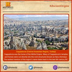 """#AncientOrigins Cappadocia, a semi-arid region in central Turkey, is known for its distinctive """"fairy chimneys,"""" tall, cone-shaped rock formations clustered in Monks Valley, Göreme and elsewhere. Other notables sites include Bronze Age homes carved into valley walls by troglodytes (cave dwellers) and later used as refuges by early Christians. The 100m-deep Ihlara Canyon houses numerous rock-face churches. #History #Ancient #Archaeology"""