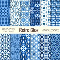"""Retro Digital Paper: """"RETRO BLUE"""" Retro scrapbook digital paper pack with blue patterns, for invites, cards, backgrounds - Buy 2 Get 1 Free Digital Scrapbook Paper, Album Scrapbook, Papel Scrapbook, Digital Papers, Textile Pattern Design, Pattern Paper, Fabric Patterns, Fabric Design, Print Patterns"""
