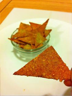"Porkitos ( faux doritos) - Made from ground pork rinds, parmesan cheese, physillium husk, egg and smoked paprika. Says, ""...almost like eating a tortilla wrap that you deep fried."" Well, sounds good to me!!"