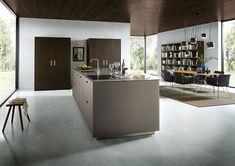 Modern - Kitchen - Design | Glass Matt Platinum Metallic | Tobacco Knotty Oak | Next 125 German Kitchens #germankitchens #kitchendesign #next125 #luxurykitchens