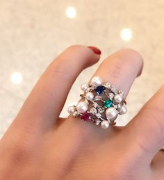 Japanese Ayoki small pearls , multicolor gem stones and diamond stack rings