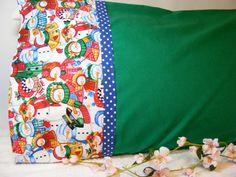 Green Snowman Pillowcase by LJsCustomCreations on Etsy, $8.00
