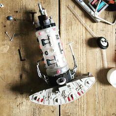Hungover detailing #weathering #priming #scratchbuilding #modelmaking #scifi #kitbash #modelpainting #primer #hobby #hobbies #spaceship #hobby #niche #householdobjects #householdobjectsmakethebesttoys #foundobjectbuild #building #diy #junk #toys #craft #toys #model #models #wip #milleniumfalcon