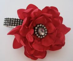 corsages with satin bracelet | Red Satin with Black Rhinestone Wrist Corsage Flower Bracelet ...