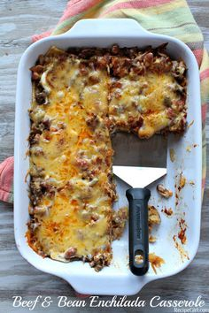 Beef and Bean Enchilada Casserole. Beef and Bean Enchilada Casserole Recipe for layered Beef and Bean Enchilada Casserole. Mexican Dishes, Mexican Food Recipes, Beef Recipes, Cooking Recipes, Healthy Recipes, Cooking Tips, Cooking Bacon, Recipes Dinner, Gourmet