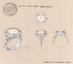 jewelry sketching | Jewelry Sketches / Double halo diamond ring rendering by Robinson ...