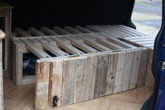 wooden slatted bed camper van