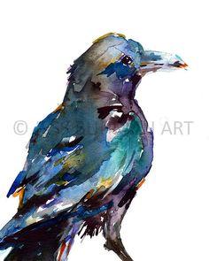 Watercolor Bird, Watercolor Animals, Watercolor Paintings, Original Paintings, Watercolor Tattoos, Abstract Animals, Watercolours, Crow Painting, Love Painting