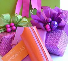 Love it!! non-traditional colors for Christmas. I often combine bright pinks with oranges and greens for distinct packages.