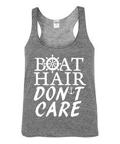 Gray 'Boat Hair Don't Care' Racerback Tank - Toddler & Girls