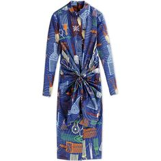 Stella Jean 3/4 Length Dress ($900) ❤ liked on Polyvore featuring dresses, blue, blue pleated dress, blue pattern dress, blue dress, longsleeve dress and long sleeve cotton dress