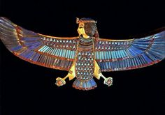 """External Trappings of the Tutankhamun Mummy   Human-headed Ba-bird Pectoral.  Reign: c. 1332 - 1323 BC  18th Dynasty  Egyptian Museum, Cairo  The Ba-bird was laid on top of the mummy's linen wrappings. It was fashioned of gold, and inlaid with precious stones. The shape of the body is one of a falcon, holding two """"shen"""" symbols in its talons."""