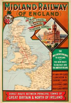 Midland Railway of England Route Map UK / 1903 / Travel Posters / Transport Images, Transport Map, Public Transport, Train Map, Train Route, Ski Posters, Railway Posters, Bus Travel, Travel Uk