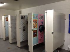 neat... An idea from a mid-Michigan high school. Each teacher adopts a bathroom stall. He/she decorates with holiday motifs, inspiring quotes, study material, jokes, etc. The bathrooms have never been so tidy and respected.