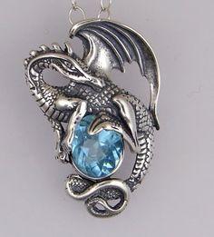 Sterling Silver Blue Topaz Dragon Pendant OMG GORGEOUS