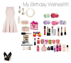 """My Birthday Wishes!!!!"" by minadinamike on Polyvore featuring River Island, Kate Spade, Lipsy, H&M, Viktor & Rolf, MAC Cosmetics, Estée Lauder, Urban Decay, NARS Cosmetics and Giuseppe Zanotti"