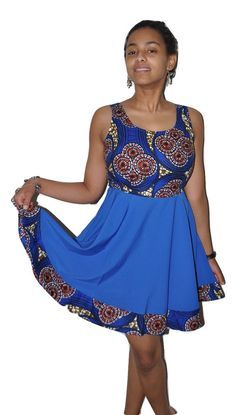 cbd2b02fe04 Ankara Print Spring Dress -Blue. Short African ...