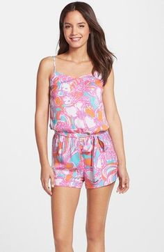 Lilly+Pulitzer®+'Deanna'+Print+Tie+Waist+Romper+available+at+#Nordstrom
