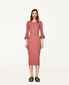 RIBBED DRESS WITH FLARED CUFFS-NEW IN-WOMAN | ZARA United States
