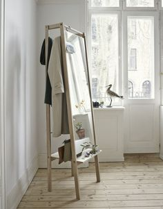 The valet stand gets a hip style upgrade, Home Accessories, Stine H Andersen for Skagerak oak Push mirror, My New Room, My Room, Spare Room, Room Inspiration, Interior Inspiration, Diy Furniture, Furniture Design, Multifunctional Furniture, Danish Furniture