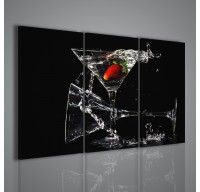 Uno dei più bei quadri moderni a catalogo: una composizione con calici, liquore e fragole. Lo sfondo scuro rende forte il contrasto della fragola. Ottimo per arredamento bar, ristoranti e cucine.