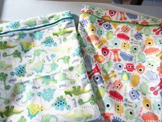 Each of my bags was made from a 24 x 10.5 inch rectangle of PUL and a 9 inch zipper