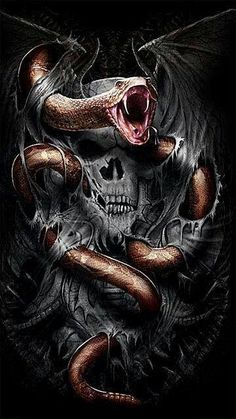 21 Ideas skeleton motorcycle tattoo grim reaper for 2019 Dark Fantasy Art, Dark Art, Grim Reaper Art, Totenkopf Tattoos, Snake Art, Skull Pictures, Skull Artwork, Skull Wallpaper, Snake Tattoo