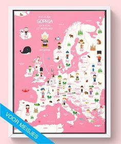 Landkaart van Europa op canvas, speciaal voor kinderen.