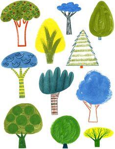 Trees / print - for Chan Davis-Reid KLee: Flowers Illustration, Illustration Art, Art Wall Kids, Art For Kids, Wall Art, Guache, Tree Print, Illustrations, Drawing For Kids