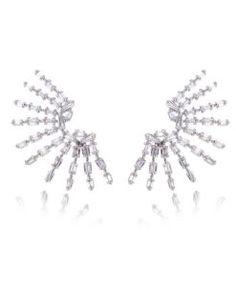 brinco estiloso prata com zirconias cristais e banho de rodio semi joias modernas