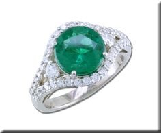 18KW Brazilian Emerald/Diamond Ring - One of a Kind