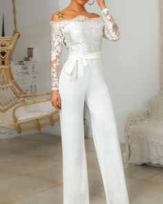 Wedding Gowns with Pants (Page Brides in Pants If we ask what it means to marry for a girl, we're certain that we'll get totally different solutions from all ladies. Many ladies who. Wedding Gowns with Pants Evening Dresses, Prom Dresses, Formal Dresses, Bridal Gowns, Wedding Gowns, Wedding Pantsuit, Trend Fashion, Lace Bodice, Classy Outfits