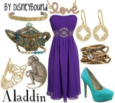 Aladdin outfit by Disney Bound. Totally in love with the dress! Estilo Disney, Disney Themed Outfits, Disney Dresses, Disney Clothes, Grad Dresses, Disney Mode, Disney Disney, Disney Prom, Disney Magic
