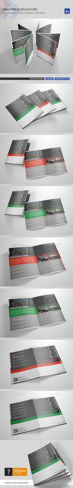Corporate Bi-Fold Brochure Template Brochure template, Template - half fold brochure template