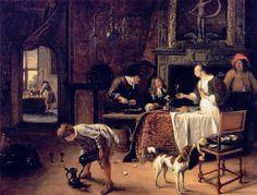Easy Come+ Easy Go - Steen, Jan (Dutch, 1626 - Fine Art Reproductions, Oil Painting Reproductions - Art for Sale at Bohemain Fine Art Johannes Vermeer, Dutch Artists, Famous Artists, Rembrandt, Simple Oil Painting, Paint Prices, European Paintings, Ideas, Fotografia