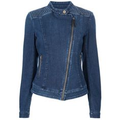 7 FOR ALL MANKIND ZIP DENIM JACKET (3,240 CNY) found on Polyvore studded denim jackets 装饰牛仔夹克 20121129