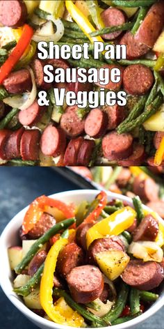 This easy sheet pan sausage and vegetable recipe is a fast, easy dinner recipe . This easy sheet pan sausage and vegetable recipe is a fast, easy dinner recipe perfect for those busy weeknights. Healthy and filling! Sausage And Vegetable Recipe, Best Vegetable Recipes, Veggie Medley Recipes, Meat And Vegetable Diet, Vegetable Meals, Paleo Recipes, Cooking Recipes, Paleo Food, Cooking Bacon