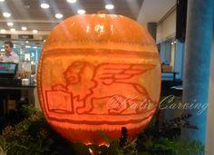 Generali logo pumpkin carving decoration by Katie Carving Geneva Fruit And Vegetable Carving, Geneva, Pumpkin Carving, Company Logo, Decoration, Logos, Decor, Logo, Pumpkin Carvings