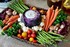 Just love the cabbage for the dip and rustic veg items. XO