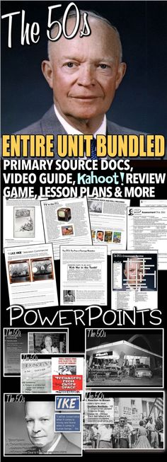 The 1950s Unit includes 1950s PowerPoints with short video links, primary source readings, and assessment all bound together with daily lesson plans. Each lesson begins with a warm-up, and continues with PowerPoint notes, primary source document reading or map activity and an exit ticket. Unit also includes a Kahoot! online review game and editable assessment that can be given as an open note quiz or test. This is a relatively short unit. Much of the 1950s is covered in the Cold War Entire…