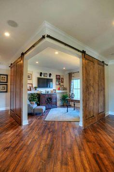 Clic Interior Design With Corner Sliding Indoor Barn Door Antique Look Teak Wood Material And Espresso Wooden