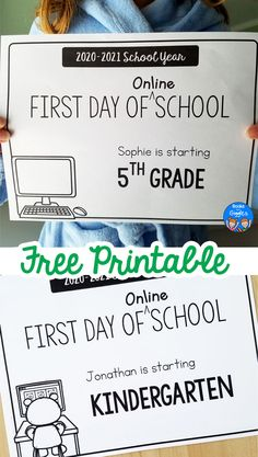 These free printable first day of online school signs are perfect for starting your virtual / remote learning school year. #firstdayofschool #booksandgiggles #backtoschool