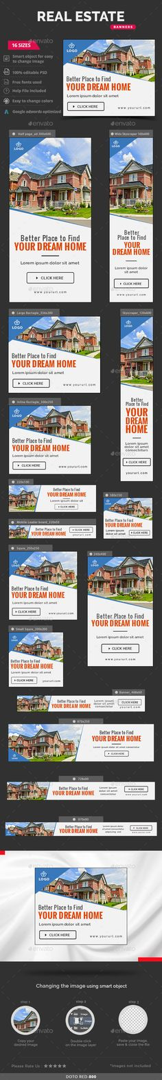 Real Estate Web Banners Template PSD #design #ads Download: http://graphicriver.net/item/real-estate-banners/13461870?ref=ksioks