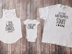 Where the Wild Things are: 3 Shirt Set, Mom, Dad, and Baby Matching Shirts, Wild Birthday, Wild and One, Kids clothing, Matching Outfits by KyCaliDesign on Etsy