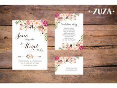 Originální svatební oznámení s moderním designem. Velikost: A6 (105x148mm) Upozornění: Při objednání méně než 20-ti kusů oznámení Vám bude účtován poplatek za grafické zpracování textu 290Kč. Chcete vidět oznámení naživo Wedding Inspiration, Wedding Ideas, Wedding Invitations, Place Card Holders, Cards, Weddings, Design, Invitation Cards, Great Ideas